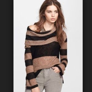Free People Lulu Rugby Striped Cowl Neck Sweater